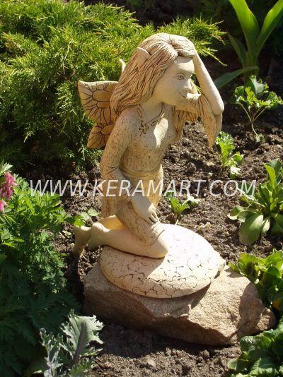 Скульптура для оформления садового участка - девочка - эльф. Керамика, изготовлена по индивидуальному заказу.