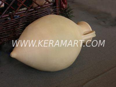 Большая ландшафтная амфора из керамики, изготовленная на гончарном круге.