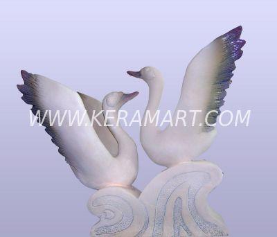 """садовые фигуры """"Два лебедя"""" скульптурная композиция ручной работы для ландшафта"""