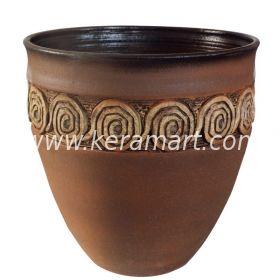 Гончарный цветочный горшок - Фактурный с налепом в греческом стиле.