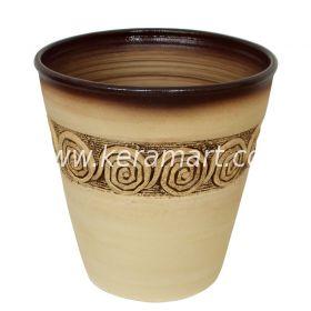 Цветочный горшок из керамики - Фактурный с налепом в греческом стиле.
