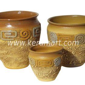 Гончарный керамический горшок - Фактурный с налепом и росписью
