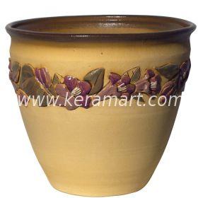 """Гончарный горшок для цветов - Цветочный горшок с налепом и росписью """"Орхидеи"""""""
