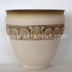 Гончарный керамический горшок - Фактурный с налепом в греческом стиле