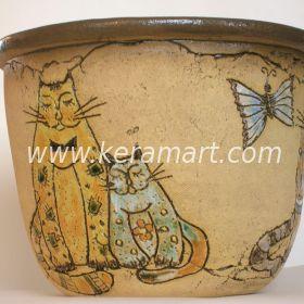 Цветочное кашпо из керамики - Кошки