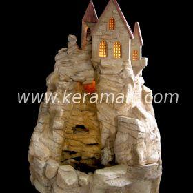 """Комнатный декоративный фонтан - водопад """"Ручей"""" с домиками и подсветкой - Керам-Арт изготовление хужожественных изделий из керамики"""