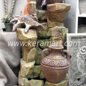 Декоративный напольный фонтан - водопад с ракушками и греческой амфорой  - Греческий мотив