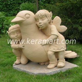 Садовая скульптура - Эльфы с голубем