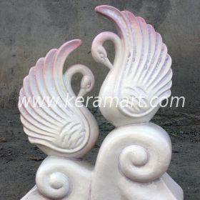 """Ландшафтная скульптурная композиция """"Два лебедя"""", керамика, авторская скульптурная работа"""