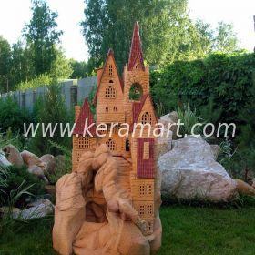 """Ландшафтный светильник """"Замок"""" из керамики, ручная лепка, мастерская """"Керам-Арт"""""""